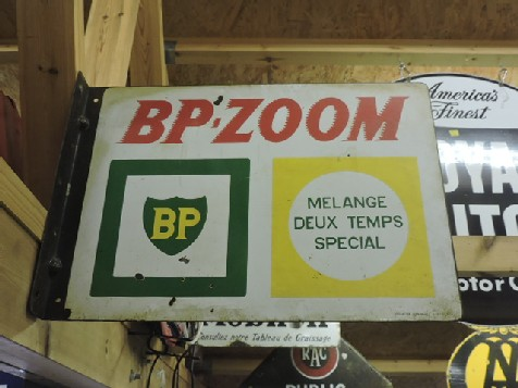 Original enamel double sided BP Zoom flange sign