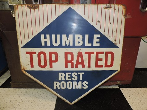 1963 tin double sided Humble gas station restroom sign