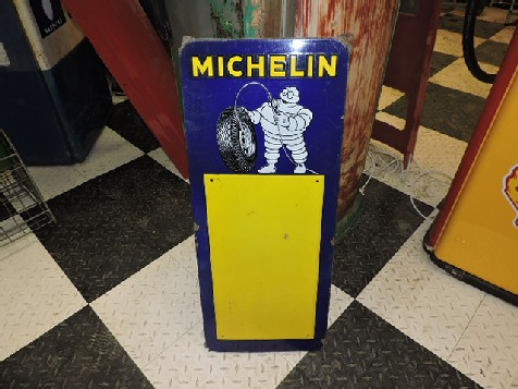 1954 enamel Michelin tyre pressure sign