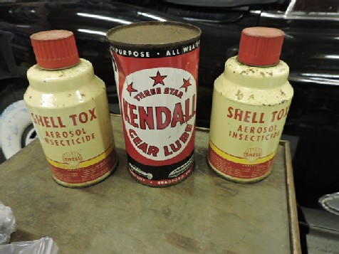 Shell and Kendall oil and insecticide cans
