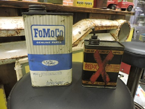 Early Redex and Ford fomoco oil cans