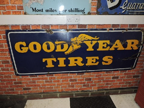 1940s Goodyear tires enamel sign