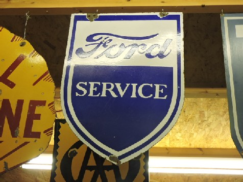 1950s Original double sided enamel Ford Service shield sign