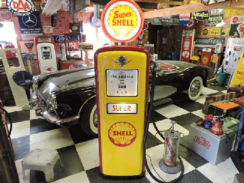 Restored Gilbarco gas-petrol pump Shell themed
