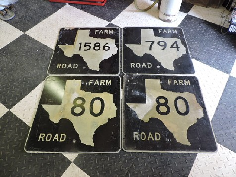 Old Texas farm road signs
