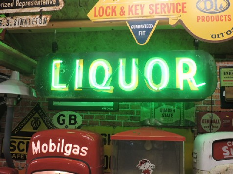 Original 1950s double sided liquor neon sign