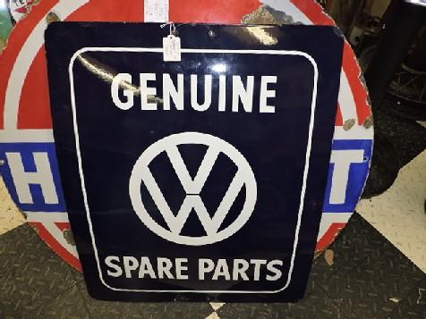 - Original Volkswagen genuine spare parts enamel sign - The Old Collectors Garage