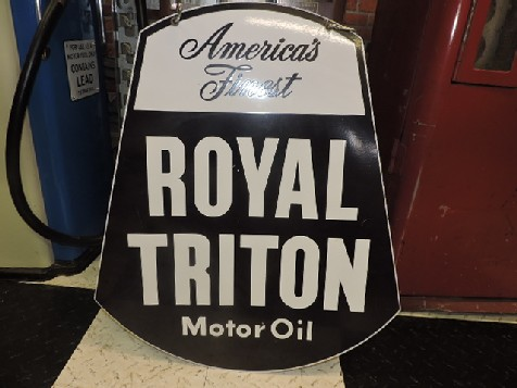 Double sided enamel Royal Triton Motor Oil sign