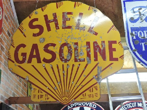 Clamshell shaped enamel double sided Shell Gasoline sign