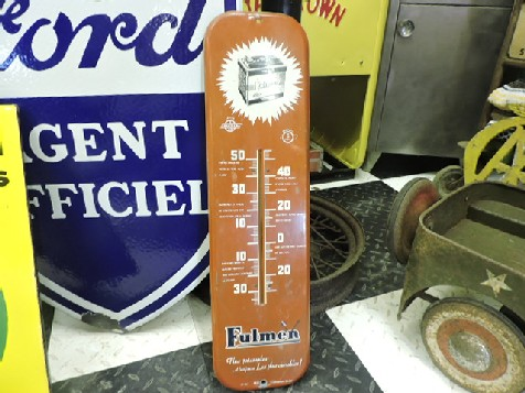 Original tin Fulmen battery thermometer sign