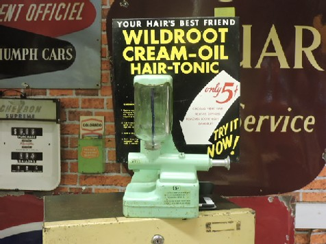 1950s vintage barber shop wild root hair tonic dispenser