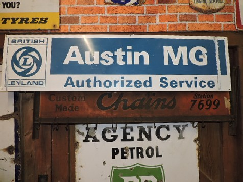 British Leyland Austin MG tin service sign
