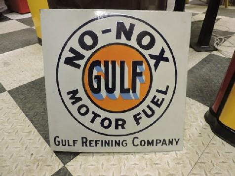 Original 1950s enamel double sided Gulf Motor Fuel flange sign