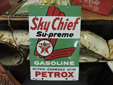 Rare 1965 enamel Sky Chief Supreme gas pump sign