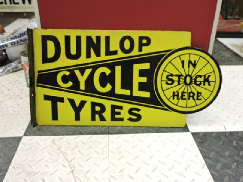 Dunlop cycle tyres double sided enamel sign
