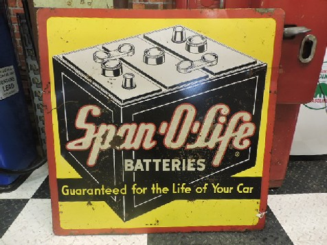 Double sided tin Span O Life batteries sign