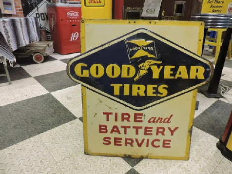 Original 1954 embossed tin Goodyear Tire and Battery Service sign