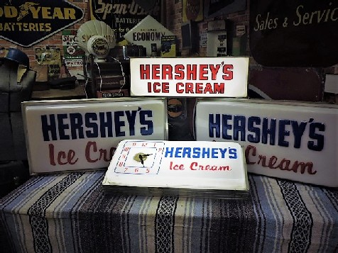 Selection of original Hershey light boxes and clock