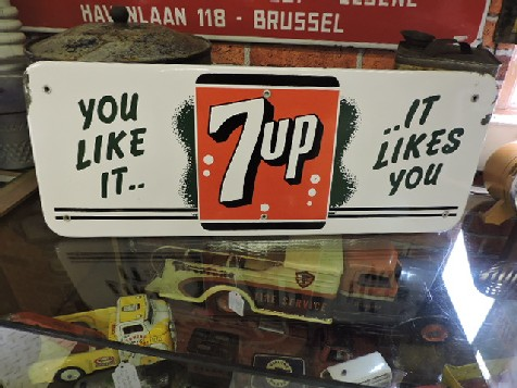Original 1950s enamel 7up sign