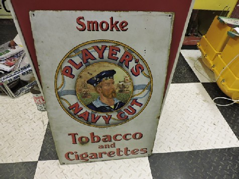 Players Navy cut enamel tobacco sign