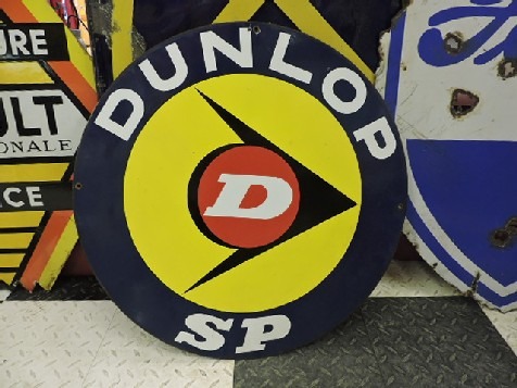 1950s Double sided enamel Dunlop SP tyres sign