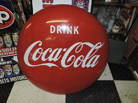 36 inch Coca Cola enamel button sign