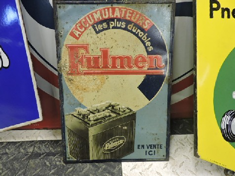 Original embossed tin Fulmen battery sign
