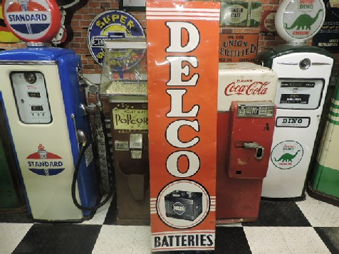 1950s tin Delco batteries sign