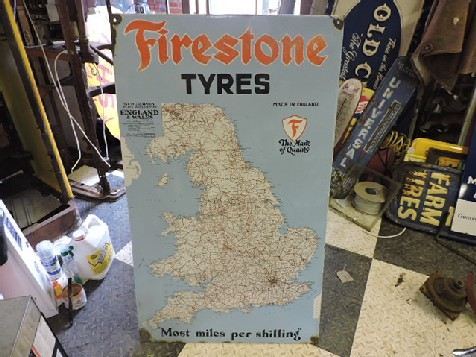 Firestone tyres enamel map sign