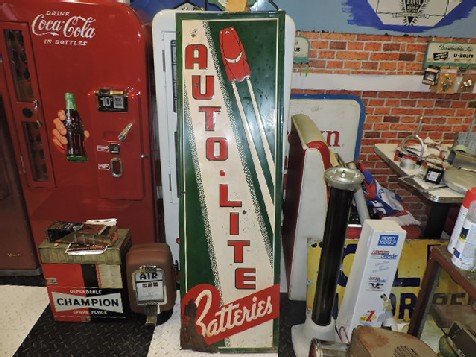 Rare 1930s embossed tin Auto Lite Batteries sign