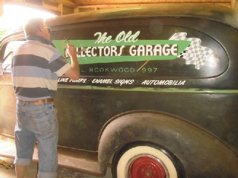 Terry laying down the new livery on my 1946 Chevy panel van