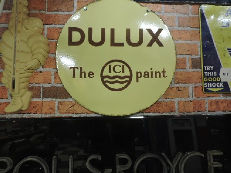 Double sided enamel Dulux paint sign