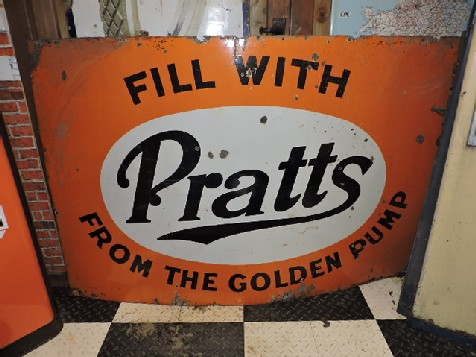 Large Pratts fill from the golden pump enamel sign