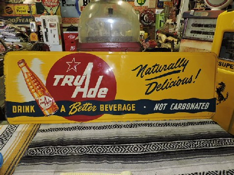 Embossed tin Tru Ade sign