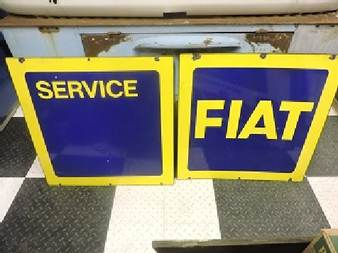 Pair of Fiat dealership enamel signs