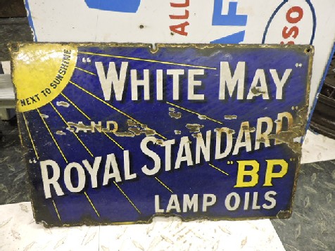 Enamel White and May lamp oil sign