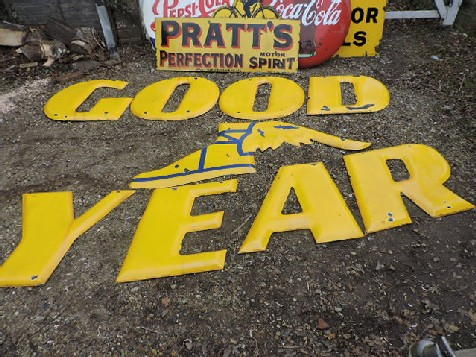 Large Goodyear letters and winged boot