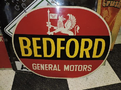 Bedford general motors tin sign