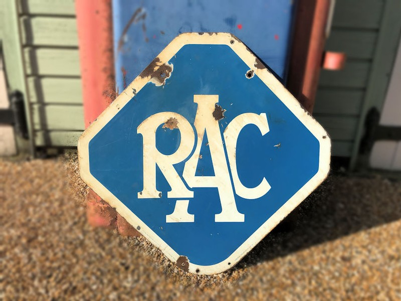 Original double sided enamel RAC sign
