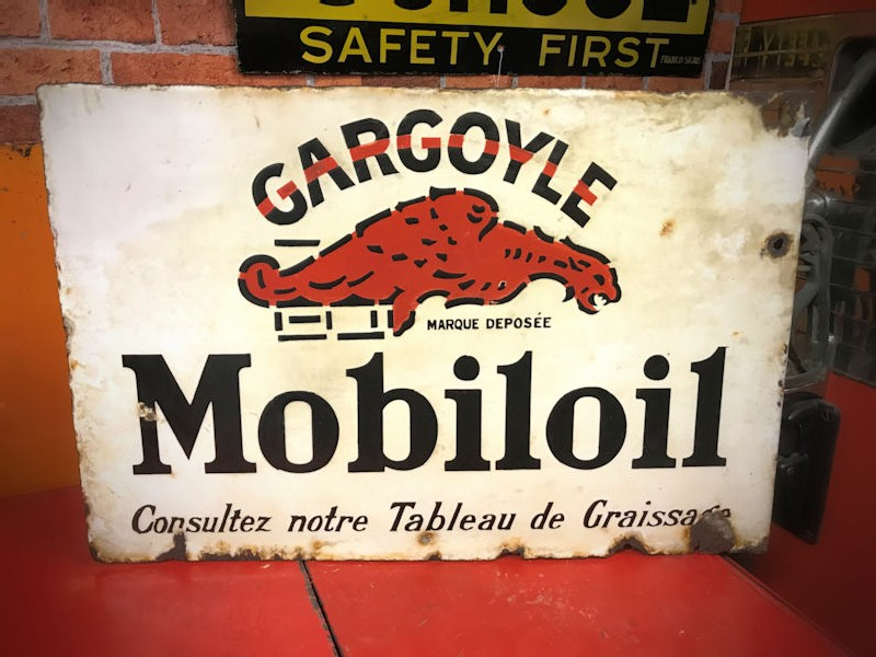 Original 1940s double sided enamel Mobiloil flange sign