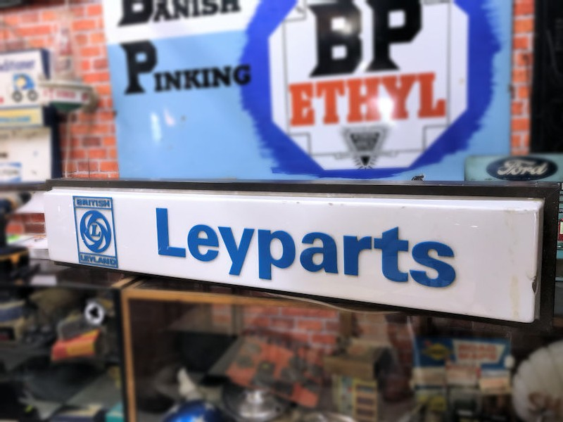 Original double sided British Leyland Leyparts dealership lightbox