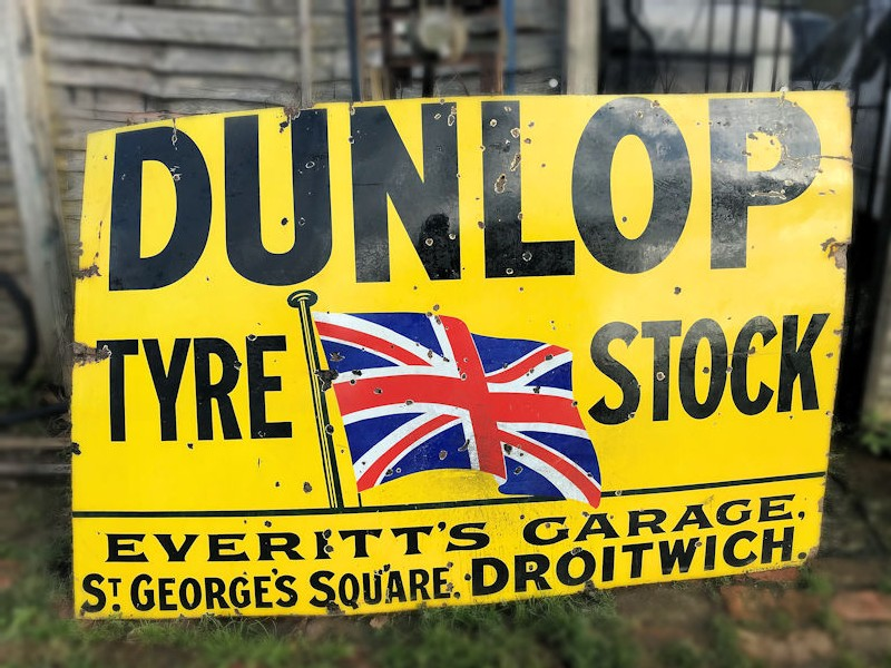 Original enamel Dunlop tyre stock sign