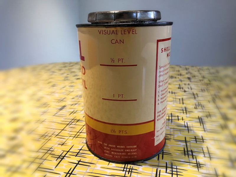 Shell Outboard Motor Oil tin can