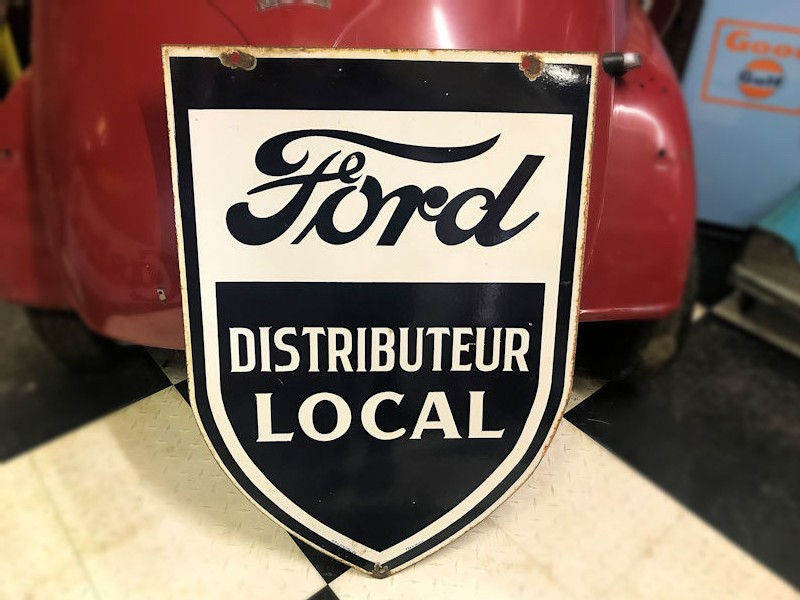1950 enamel double sided Ford dealership shield sign