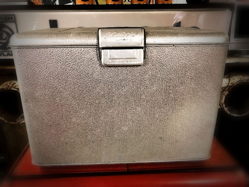 Vintage J C Higgins aluminium cooler chest