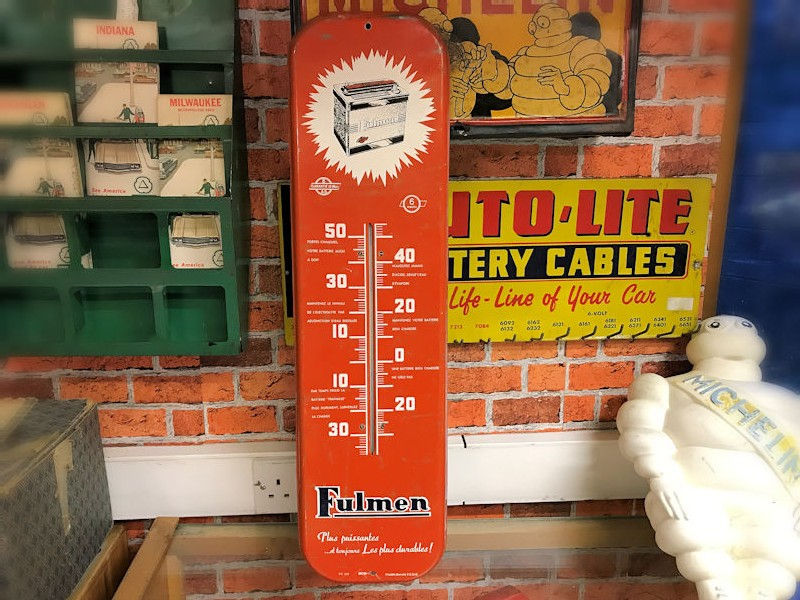 Fulmen battery painted tin thermometer