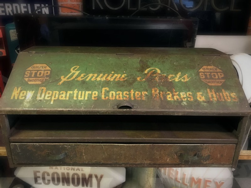Rare 1950s bicycle shop metal counter display
