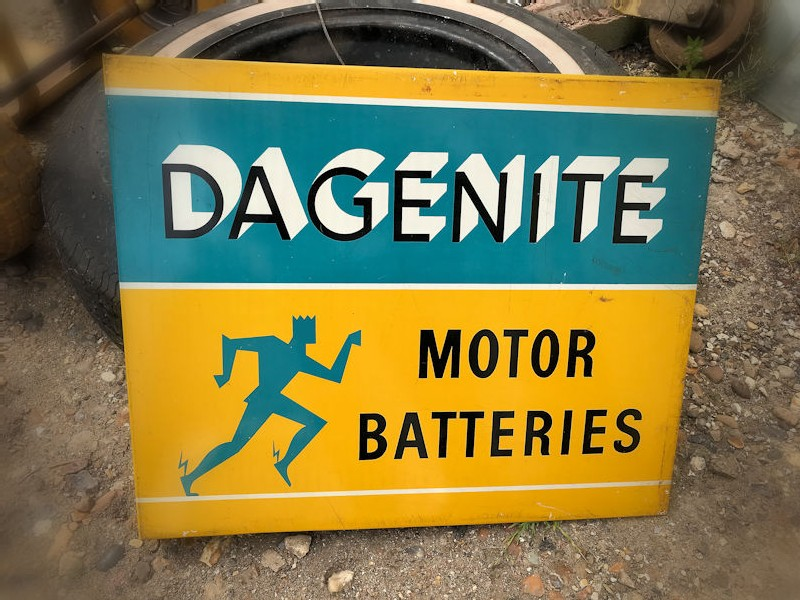 1954 tin Dagenite motor batteries double sided flange sign