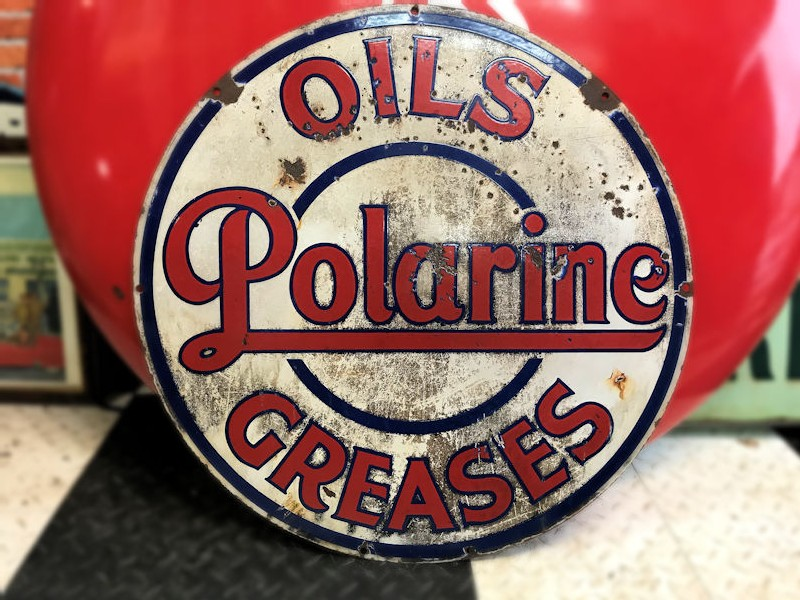 Original double sided Polarine oils and greases enamel sign