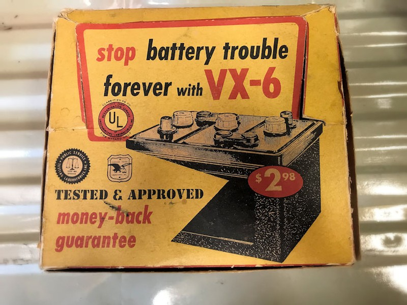 Original NOS 1950s VX6 battery additive store counter display